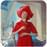 Funny girl in red dress Stock Photos