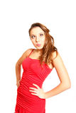 Funny girl in red dress isolated on white background Stock Photography