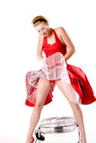Funny girl in red gala dress sexy Royalty Free Stock Photos