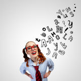 Funny girl in red glasses Royalty Free Stock Images