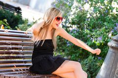 Funny girl with red heart glasses Royalty Free Stock Image