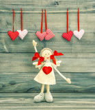 Funny Girl with Red Heart. Valentines Day decoration Stock Photos