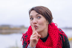 Funny girl in red scarf oudoor Royalty Free Stock Photos