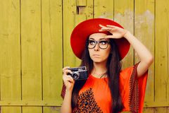 Funny Girl with Retro Photo Camera and Red Sun Hat Stock Photos
