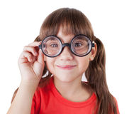 Funny girl with round glasses Stock Image