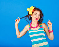 Funny girl in a sailor suit. Stock Images