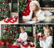 Funny girl in Santa hat writes letter to Santa. Christmas dreams Stock Photos