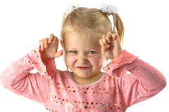 Funny girl with scary face Royalty Free Stock Image