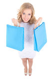 Funny girl with shopping bags Royalty Free Stock Photos