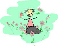 Funny girl is sitting in a flower field. With a purple butterfly in her hand Royalty Free Illustration