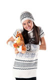 Funny girl with a soft toy Stock Photos