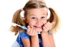 Funny girl with space width and toothbrush Royalty Free Stock Images