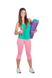 Funny girl in sportswear with a mat and dumbbell Stock Images