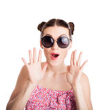 Funny girl in sunglasses Stock Photos