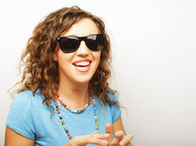Funny girl in sunglasses with expression of surprise Stock Photos