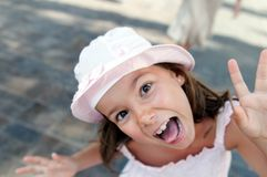 Funny girl in sunhat Royalty Free Stock Images