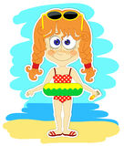 Funny girl with swimming circle Royalty Free Stock Images