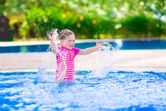 Funny girl in swimming pool Royalty Free Stock Photography