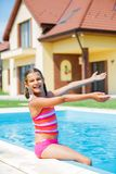 Funny girl swims. Royalty Free Stock Photography