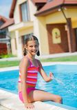Funny girl swims. Stock Photography
