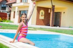 Funny girl swims. Royalty Free Stock Photos