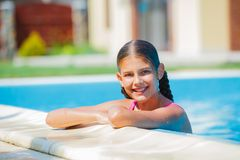 Funny girl swims. Royalty Free Stock Images