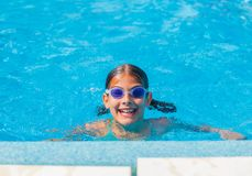 Funny girl swims. Stock Image
