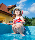 Funny girl swims. Stock Images