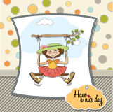 Funny girl in a swing Stock Image