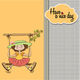 Funny girl in a swing Royalty Free Stock Photos