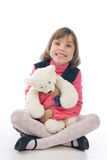Funny girl with Teddy Bear Stock Image