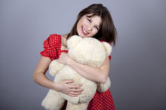 Funny girl with teddy bear Royalty Free Stock Image