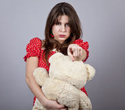 Funny girl with teddy bear Royalty Free Stock Photography