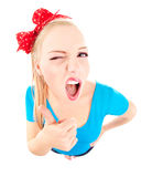 Funny girl with thumb up Royalty Free Stock Photo