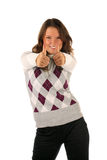 Funny girl with thumbs up Royalty Free Stock Photo