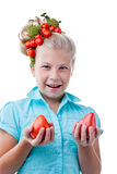 Funny girl with tomatoes, isolated on white Stock Image