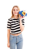 Funny girl with toy bird isolated Royalty Free Stock Photo
