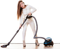 Funny girl with vacuum cleaner isolated Royalty Free Stock Images