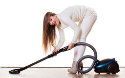 Funny girl with vacuum cleaner isolated Stock Photography