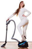 Funny girl with vacuum cleaner isolated Royalty Free Stock Image