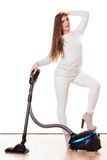 Funny girl with vacuum cleaner isolated Stock Images