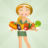 Funny girl with vegetables Royalty Free Stock Photo