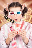 Funny Girl Watching 3D Movie At Cinema Stock Images
