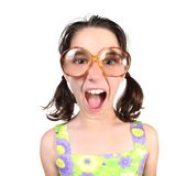 Funny Girl Wearing Large Eyeglasses Shouting Stock Photography