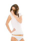 Funny girl in white Stock Images