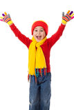 Funny girl in winter clothes Stock Photos