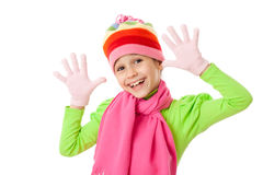Funny girl in winter clothes Stock Image