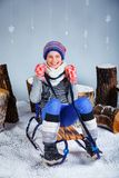 Funny girl in winter clothes. Royalty Free Stock Images