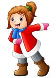 Funny girl in winter clothes. Illustration of Funny girl in winter clothes Royalty Free Stock Photo