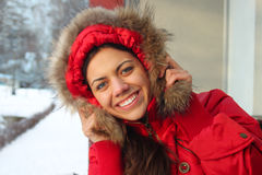 Funny girl in winter park Royalty Free Stock Photography